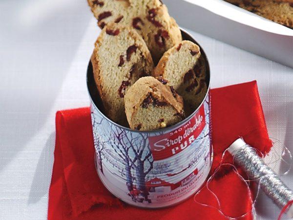 Recette — Biscottis à l'érable et aux canneberges