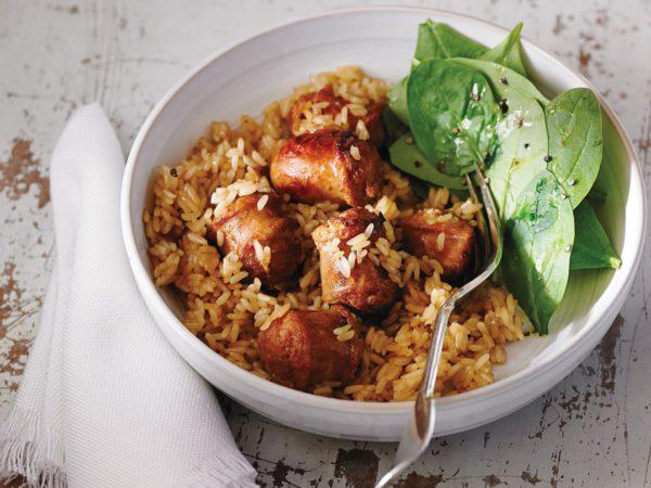 Recette — Casserole de saucisses et riz à l'érable