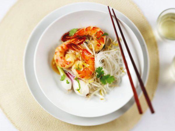 Recette — Crevettes sautées aux herbes thaïes et sauce fine à l'érable