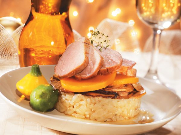 Recette — Étagé de porc et de risotto aux champignons parfumé à l'érable