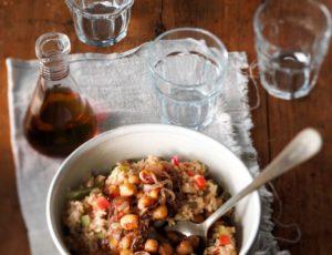 Riz aux légumes et pois chiches caramélisés à l'érable