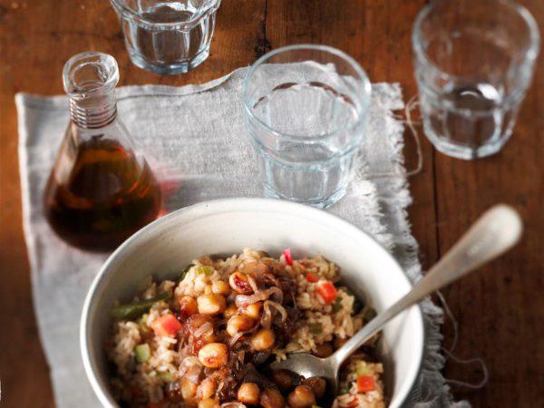 Recette — Riz aux légumes et pois chiches caramélisés à l'érable