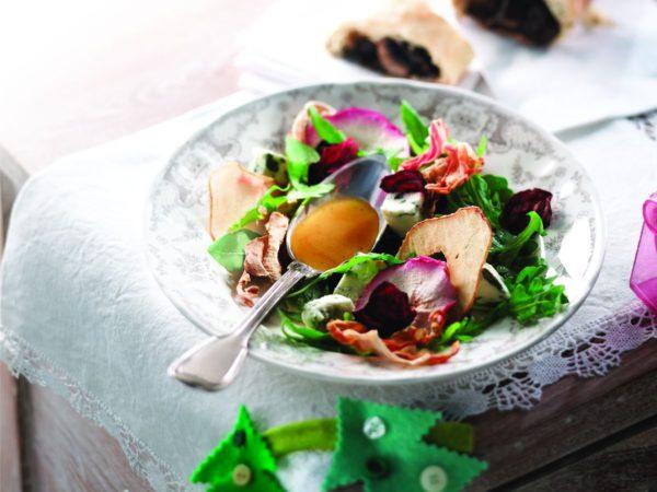Recette — Salade de légumes et de fruits secs, vinaigrette à l'érable