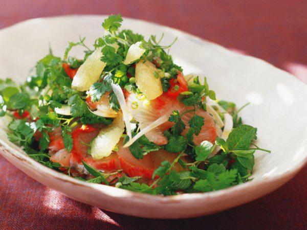 Recette — Salade de sashimi avec citron mariné au sirop d'érable