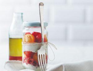 Verrines de tomates confites à l'érable et au fromage à la crème
