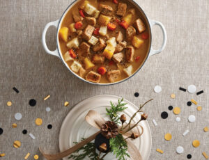 Mijoté de porc et de légumes racines, sauce érable et zaatar